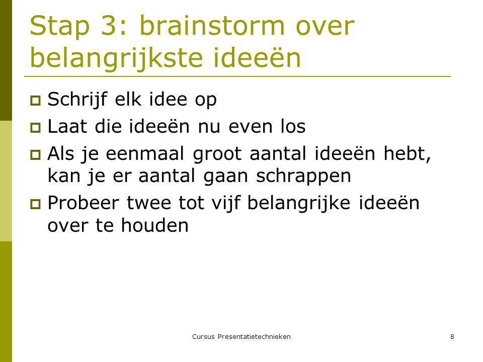 Stap 3: brainstorm over belangrijkste ideeën