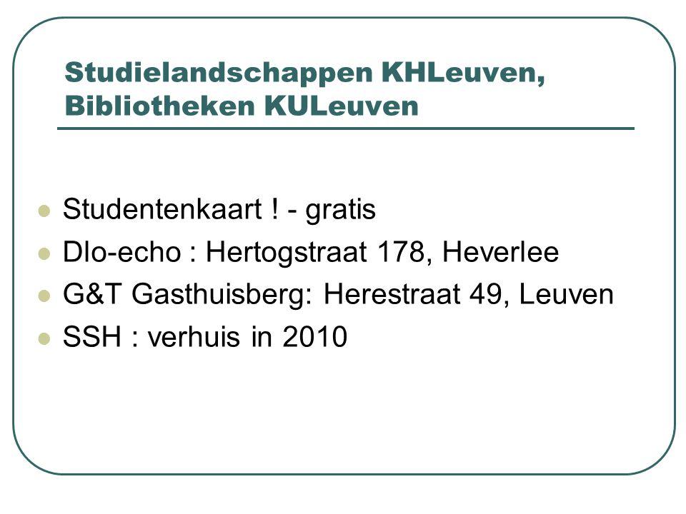 Studielandschappen KHLeuven, Bibliotheken KULeuven