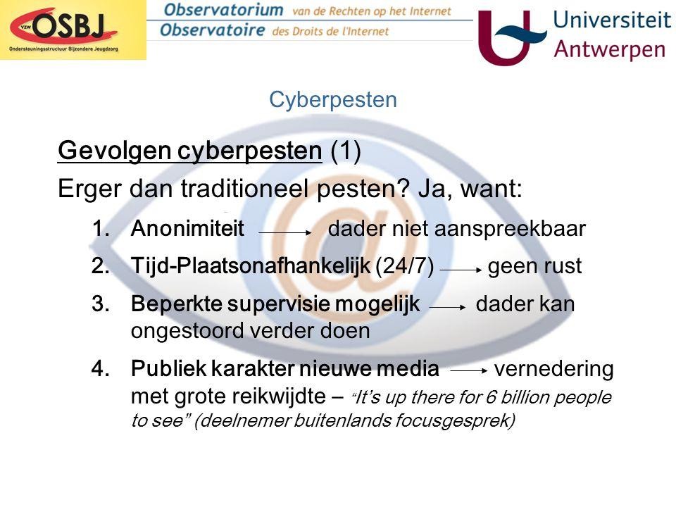 Gevolgen cyberpesten (1) Erger dan traditioneel pesten Ja, want: