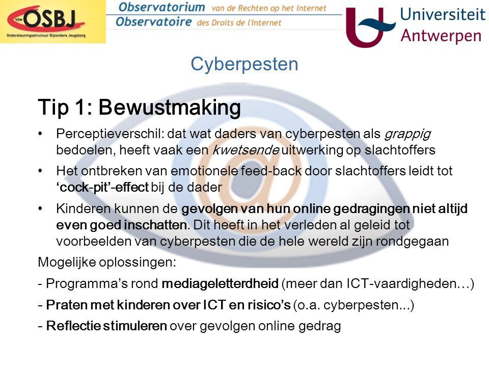 Tip 1: Bewustmaking Cyberpesten