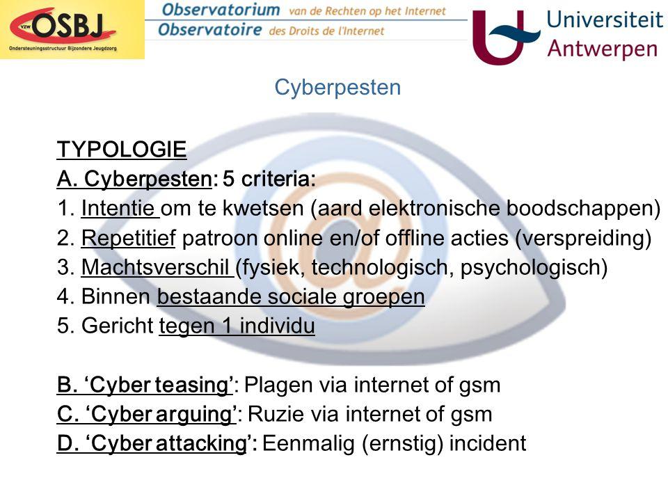 Cyberpesten TYPOLOGIE. A. Cyberpesten: 5 criteria: 1. Intentie om te kwetsen (aard elektronische boodschappen)