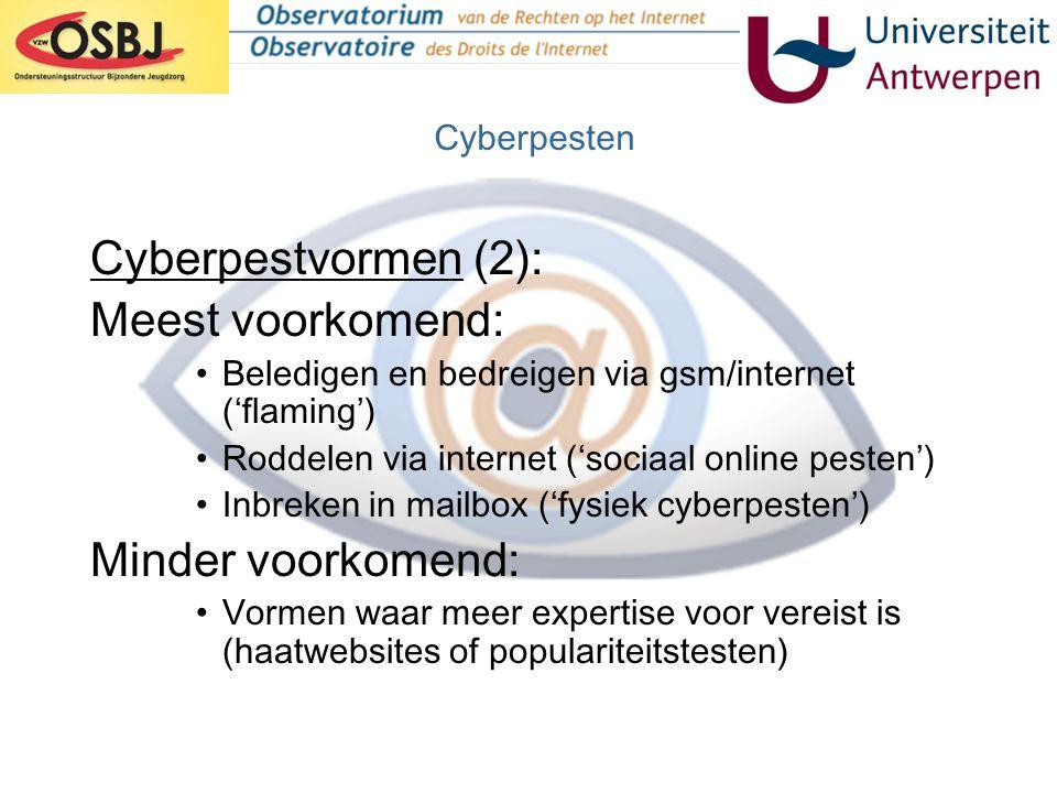 Cyberpestvormen (2): Meest voorkomend: Minder voorkomend: Cyberpesten