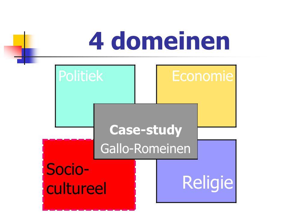 4 domeinen Socio-cultureel Politiek Case-study Gallo-Romeinen Economie