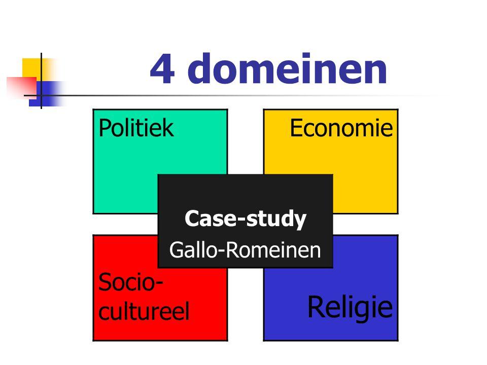 4 domeinen Politiek Socio-cultureel Case-study Gallo-Romeinen Economie