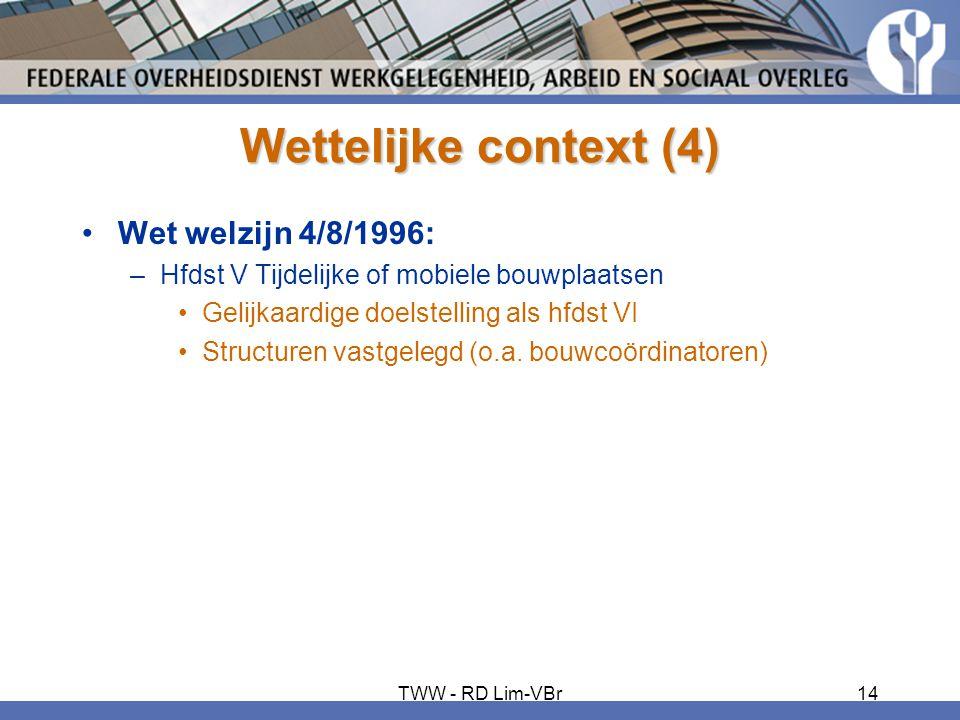 Wettelijke context (4) Wet welzijn 4/8/1996: