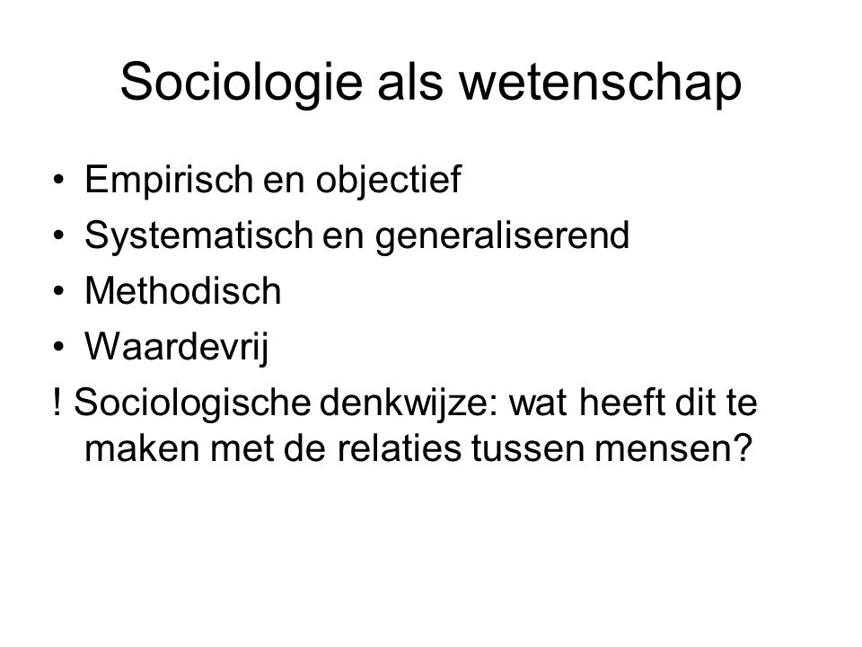 Sociologie als wetenschap