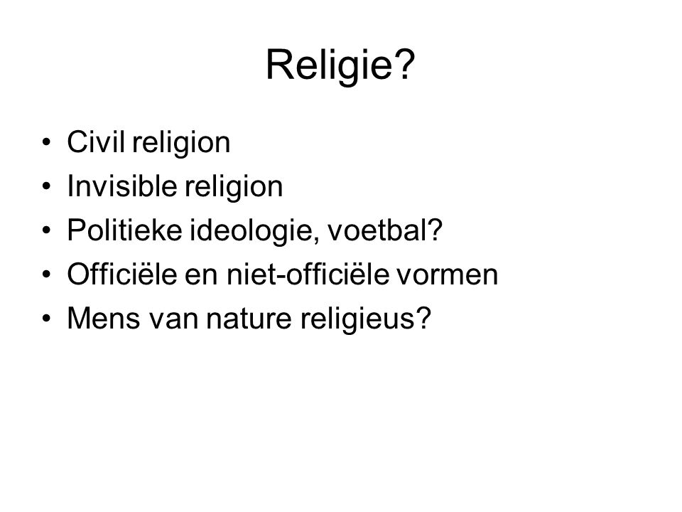 Religie Civil religion Invisible religion