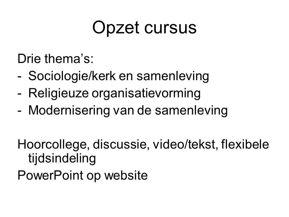 Opzet cursus Drie thema's: Sociologie/kerk en samenleving