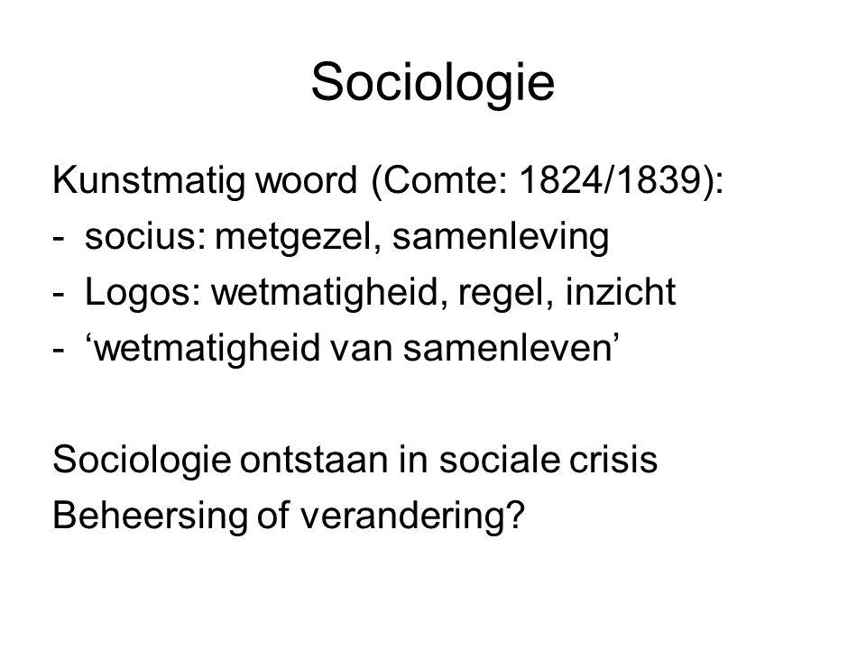 Sociologie Kunstmatig woord (Comte: 1824/1839):
