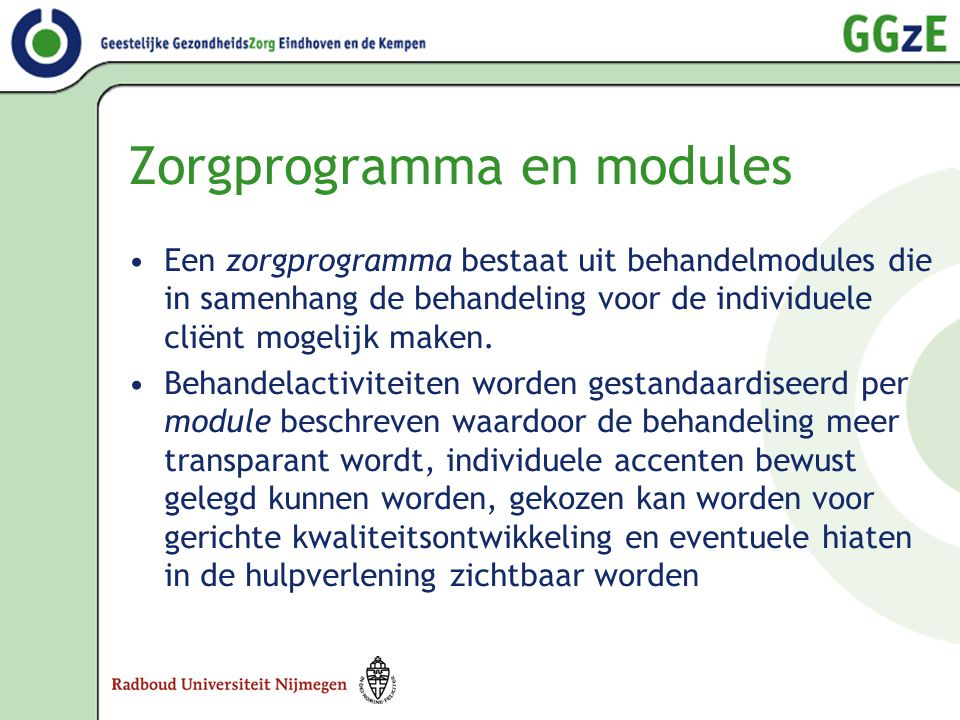 Zorgprogramma en modules