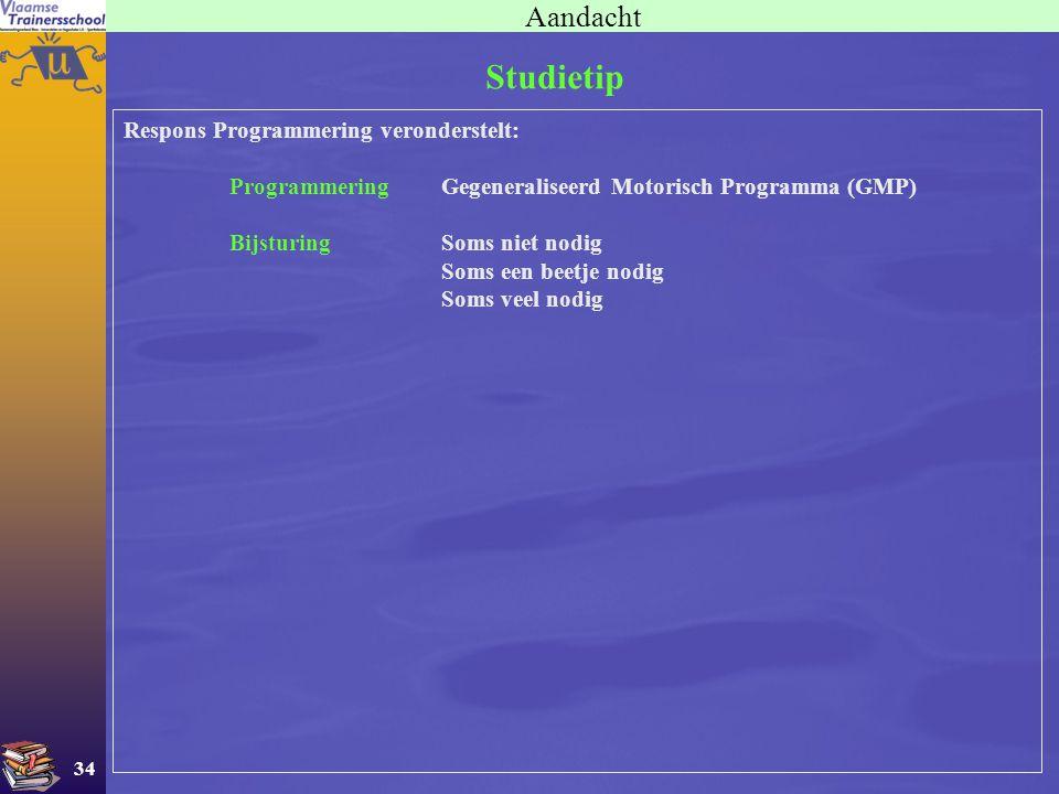 Studietip Aandacht Respons Programmering veronderstelt: