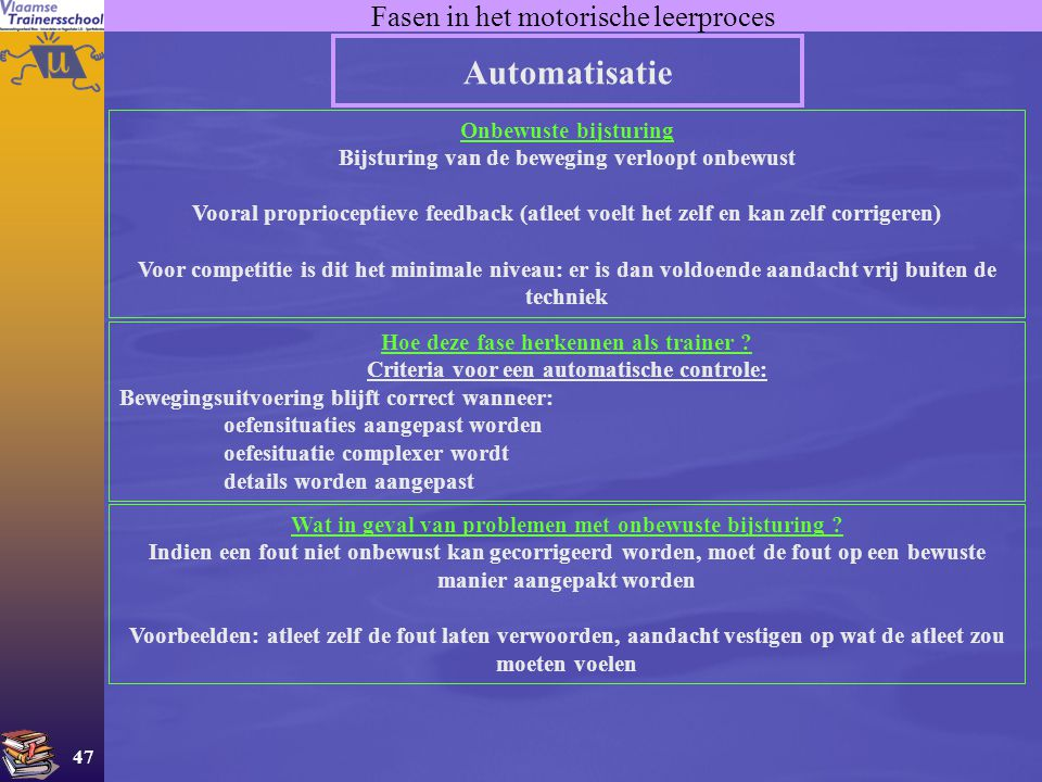 Automatisatie Fasen in het motorische leerproces Onbewuste bijsturing