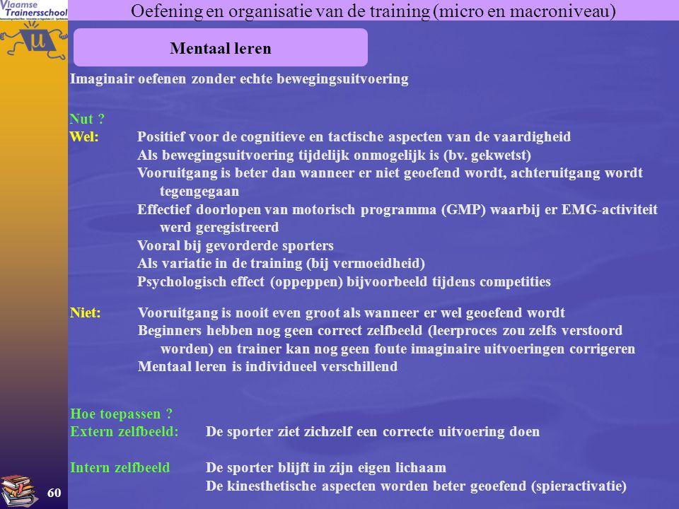 Oefening en organisatie van de training (micro en macroniveau)