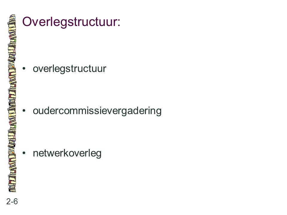 Overlegstructuur: • overlegstructuur • oudercommissievergadering