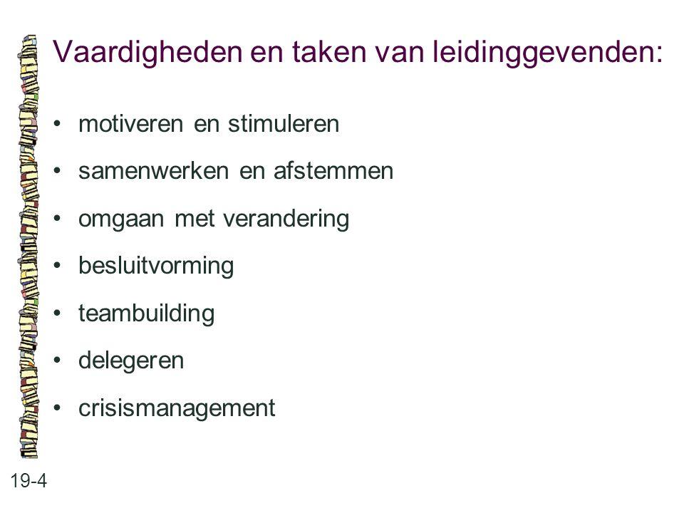 Vaardigheden en taken van leidinggevenden: