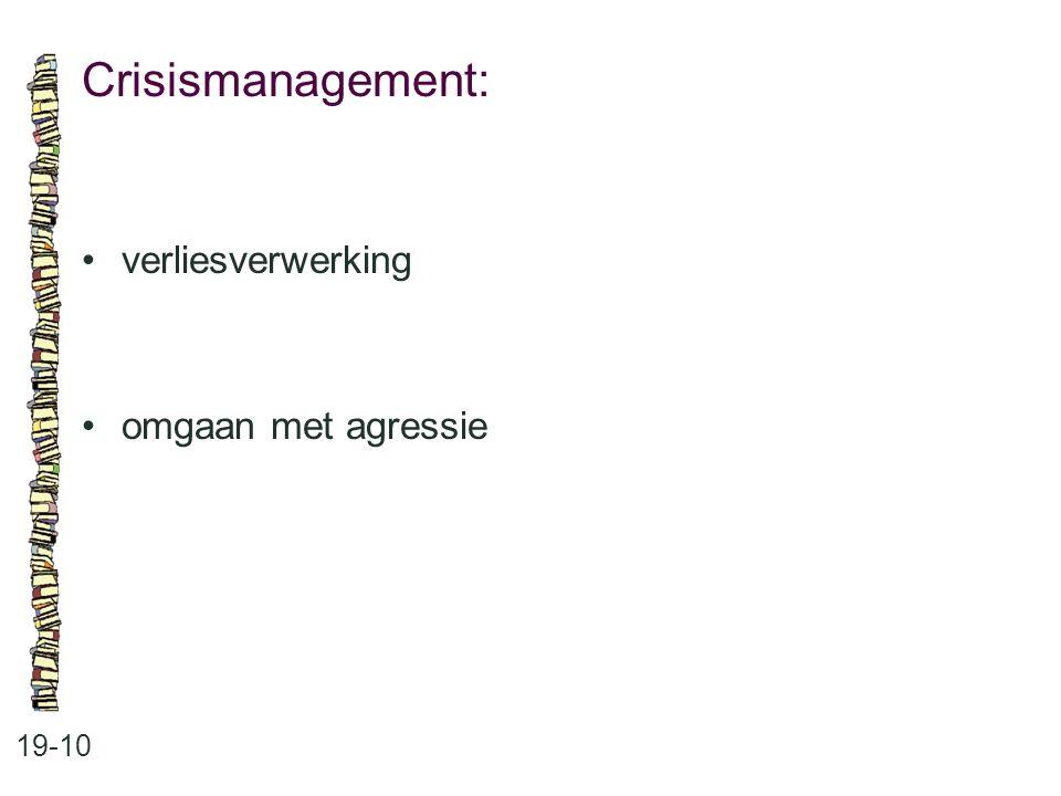 Crisismanagement: • verliesverwerking • omgaan met agressie 19-10