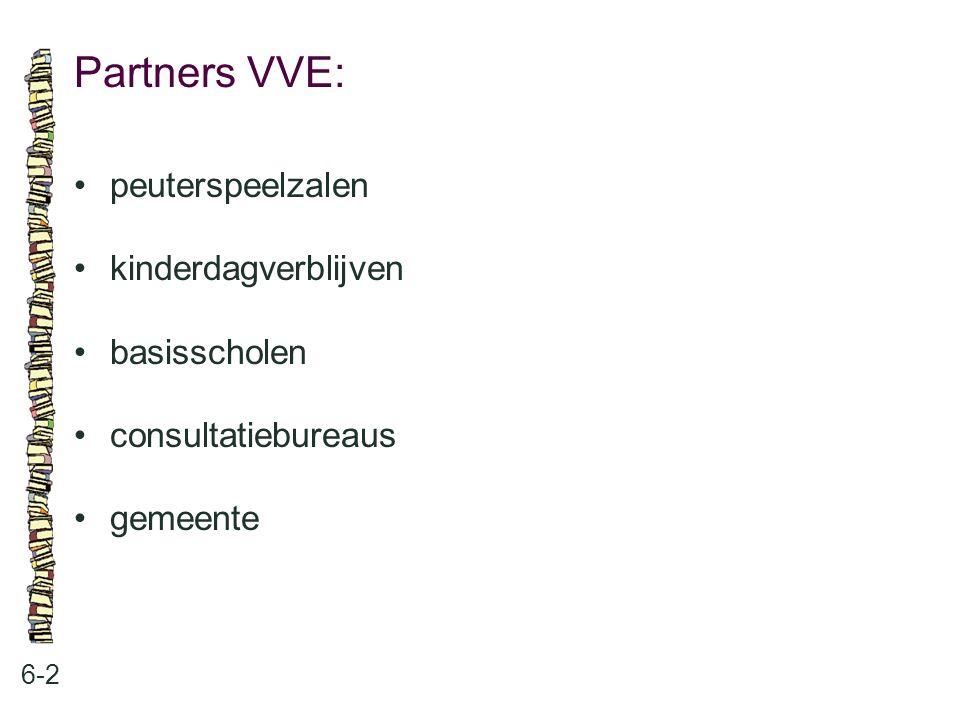 Partners VVE: • peuterspeelzalen • kinderdagverblijven • basisscholen