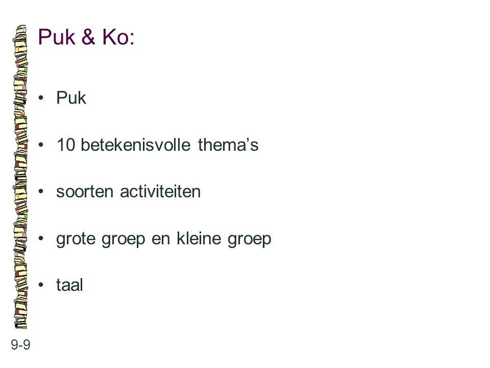 Puk & Ko: • Puk • 10 betekenisvolle thema's • soorten activiteiten