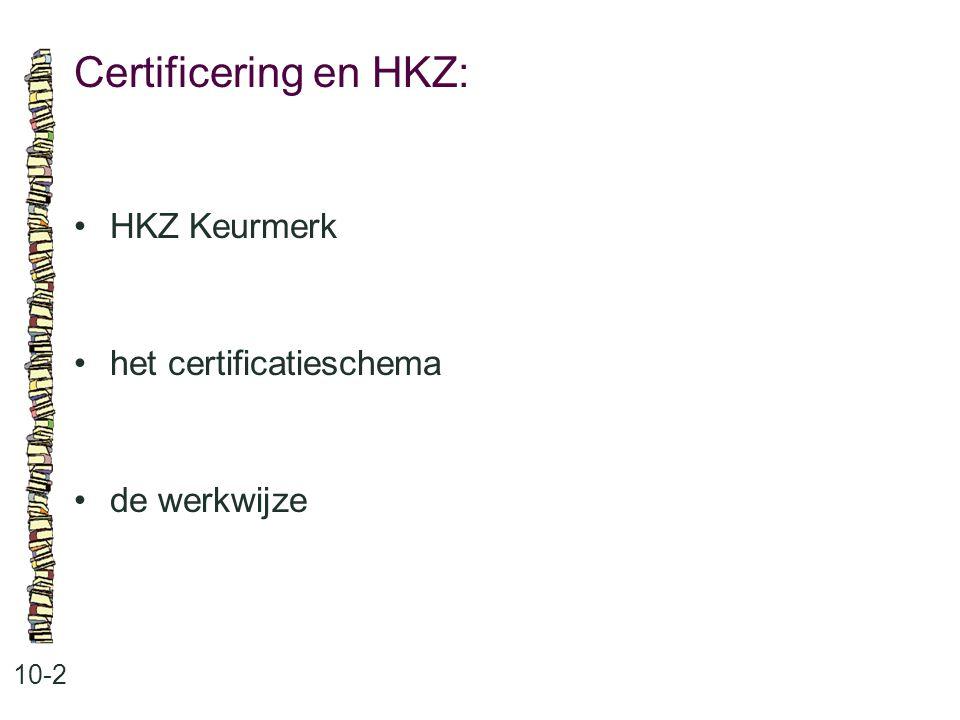 Certificering en HKZ: • HKZ Keurmerk • het certificatieschema