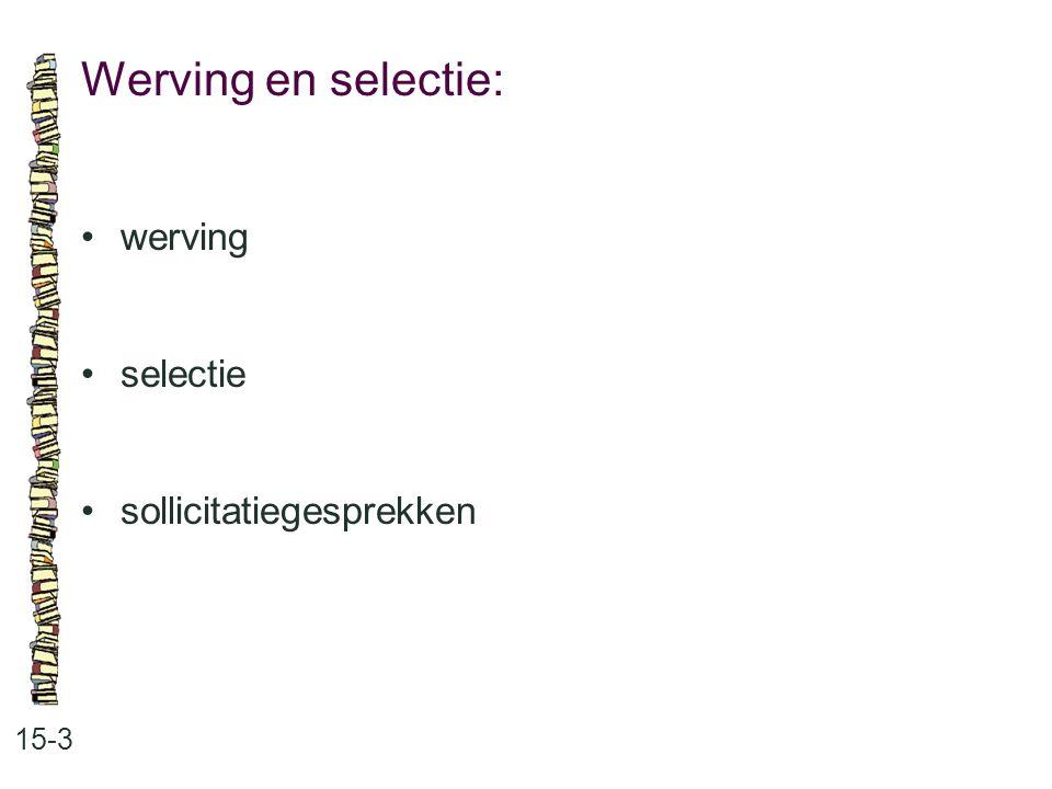 Werving en selectie: • werving • selectie • sollicitatiegesprekken