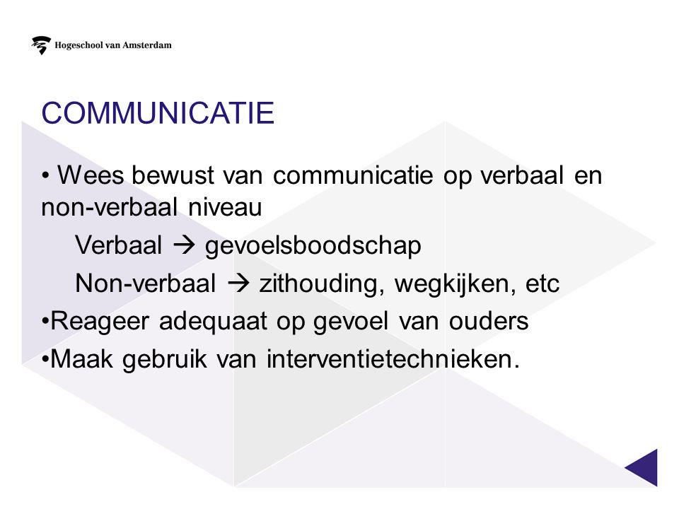 COMMUNICATIE Wees bewust van communicatie op verbaal en non-verbaal niveau. Verbaal  gevoelsboodschap.