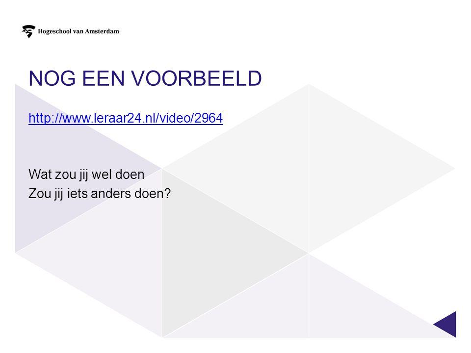 NOG EEN VOORBEELD http://www.leraar24.nl/video/2964 Wat zou jij wel doen Zou jij iets anders doen
