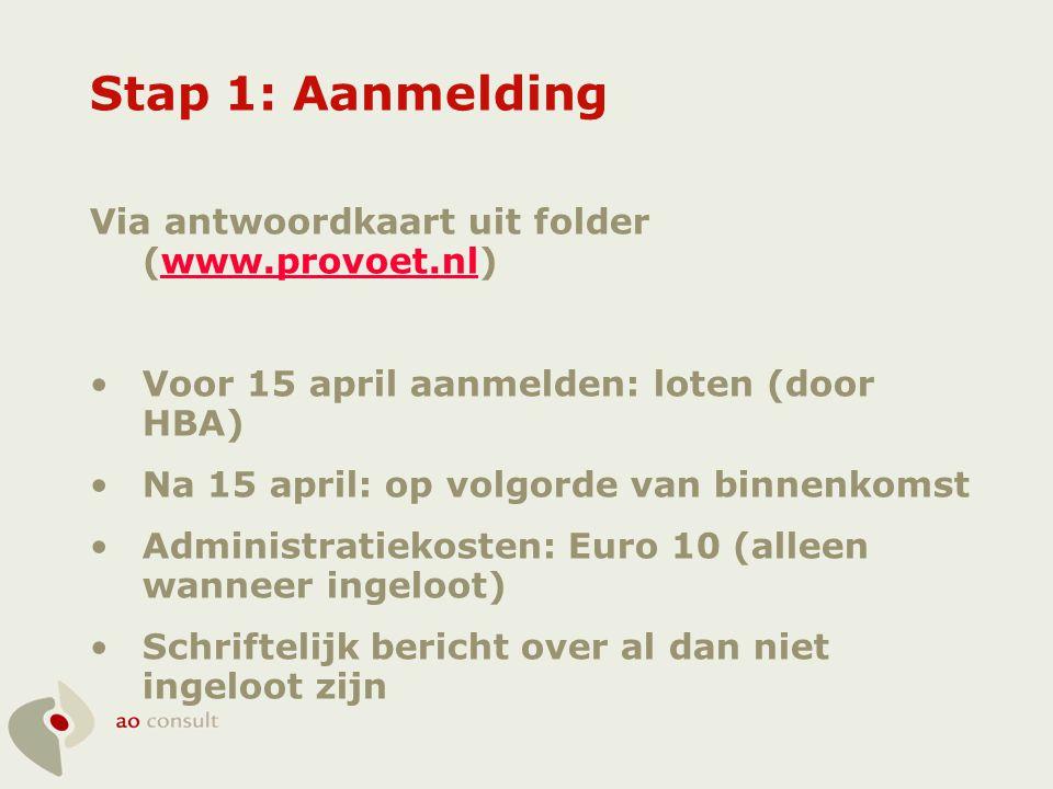 Stap 1: Aanmelding Via antwoordkaart uit folder (www.provoet.nl)