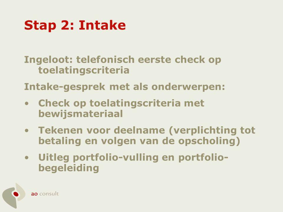 Stap 2: Intake Ingeloot: telefonisch eerste check op toelatingscriteria. Intake-gesprek met als onderwerpen: