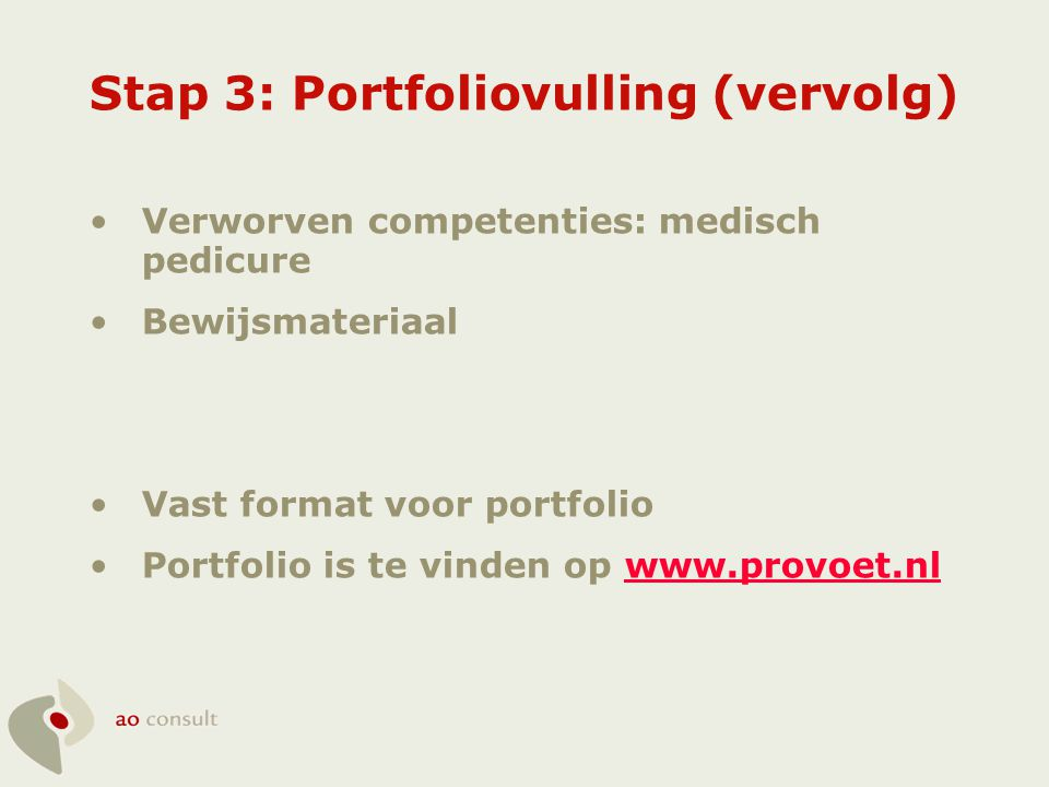 Stap 3: Portfoliovulling (vervolg)