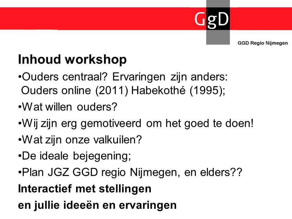 Inhoud workshop Ouders centraal Ervaringen zijn anders: Ouders online (2011) Habekothé (1995); Wat willen ouders