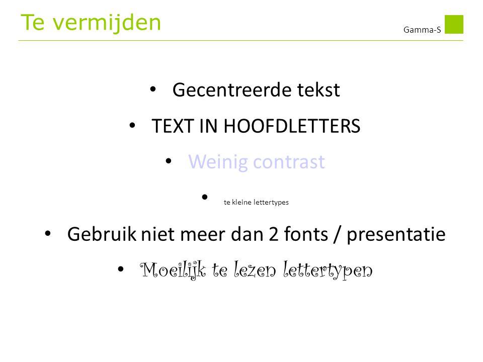 Gebruik niet meer dan 2 fonts / presentatie
