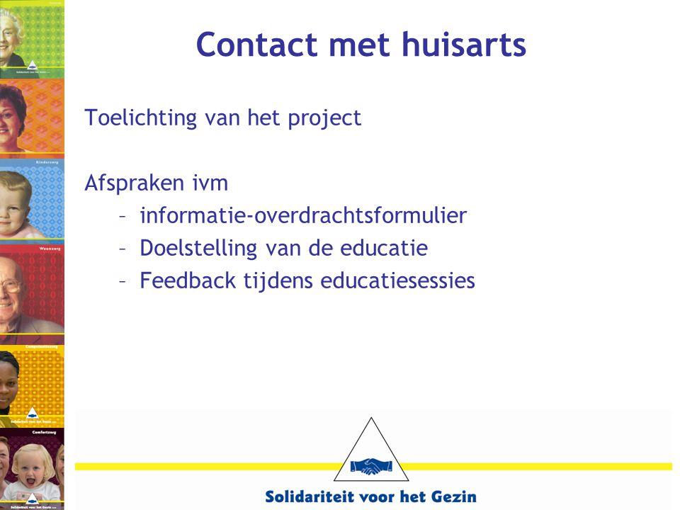 Contact met huisarts Toelichting van het project Afspraken ivm