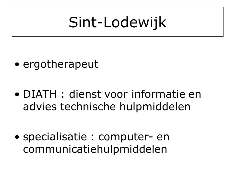 Sint-Lodewijk ergotherapeut