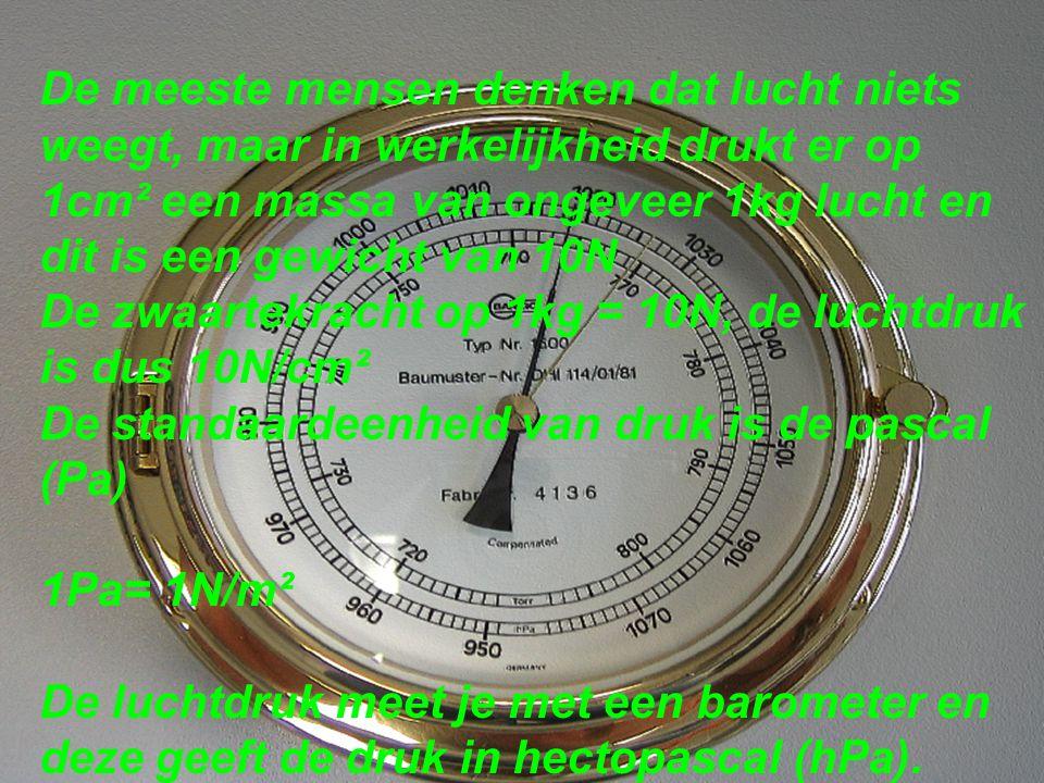 De meeste mensen denken dat lucht niets weegt, maar in werkelijkheid drukt er op 1cm² een massa van ongeveer 1kg lucht en dit is een gewicht van 10N