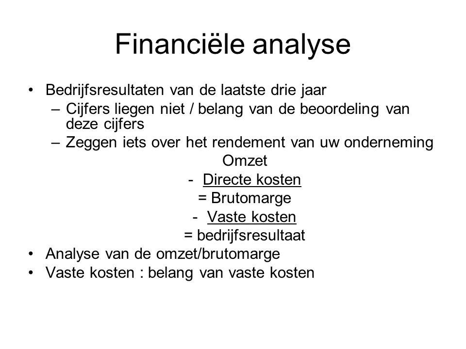 Financiële analyse Bedrijfsresultaten van de laatste drie jaar