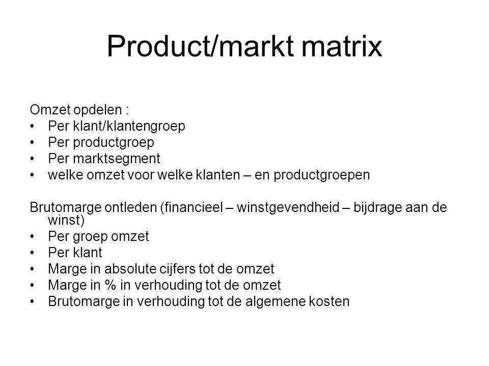 Product/markt matrix Omzet opdelen : Per klant/klantengroep