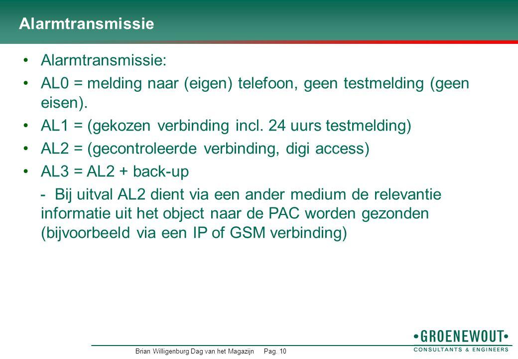 AL0 = melding naar (eigen) telefoon, geen testmelding (geen eisen).