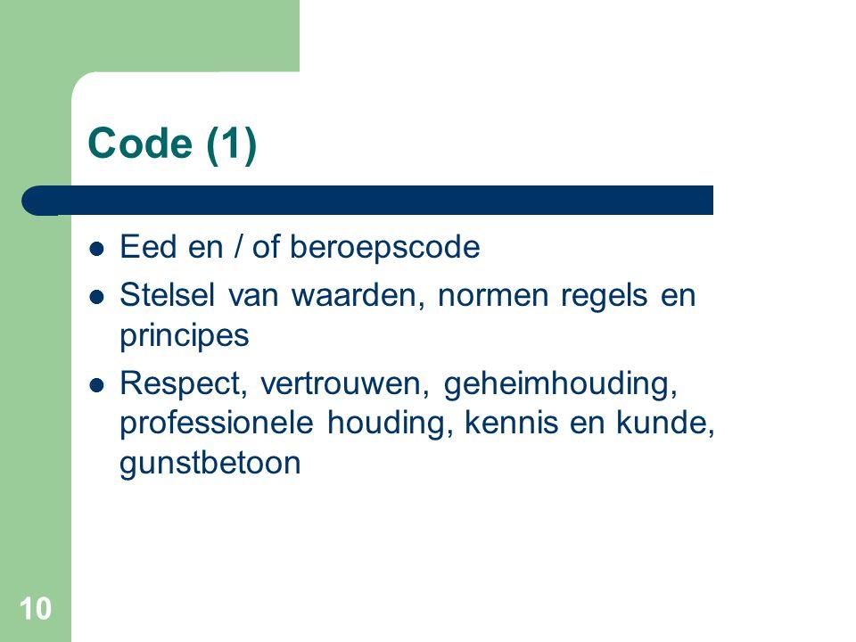 Code (1) Eed en / of beroepscode