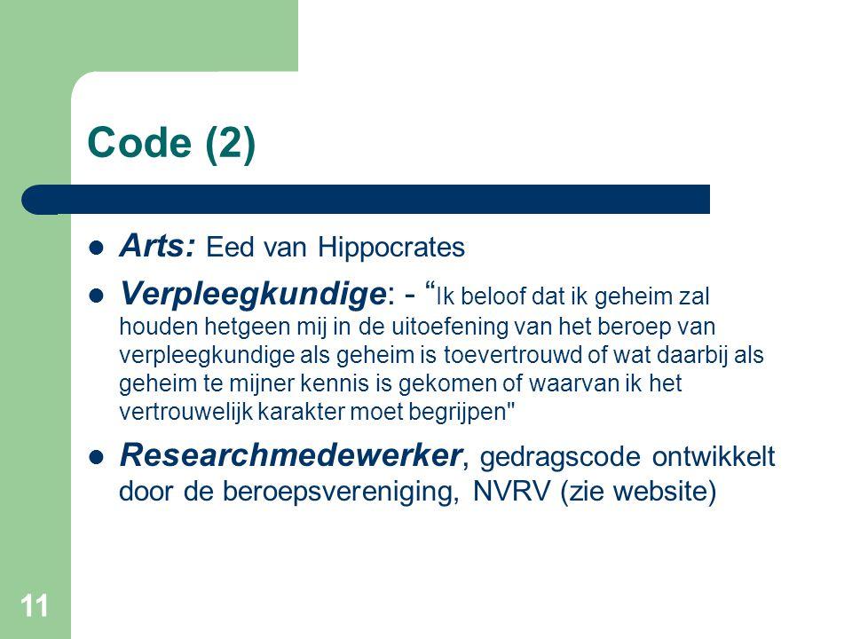 Code (2) Arts: Eed van Hippocrates