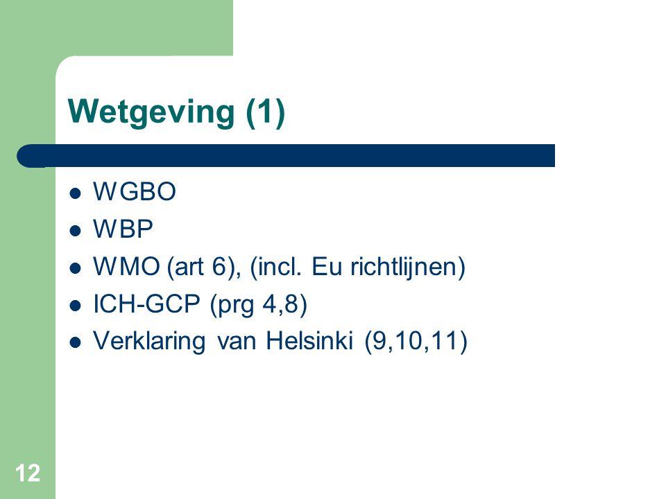 Wetgeving (1) WGBO WBP WMO (art 6), (incl. Eu richtlijnen)