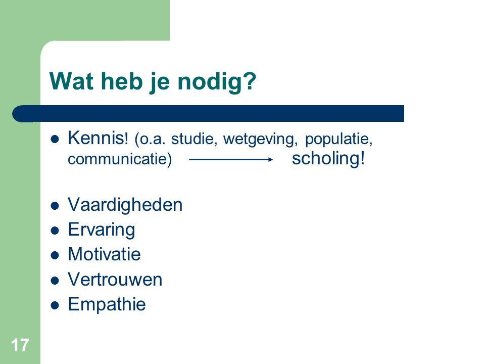 Wat heb je nodig Kennis! (o.a. studie, wetgeving, populatie, communicatie) scholing! Vaardigheden.