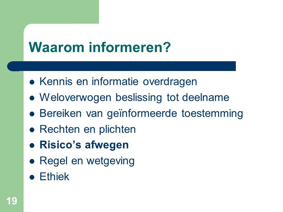 Waarom informeren Kennis en informatie overdragen