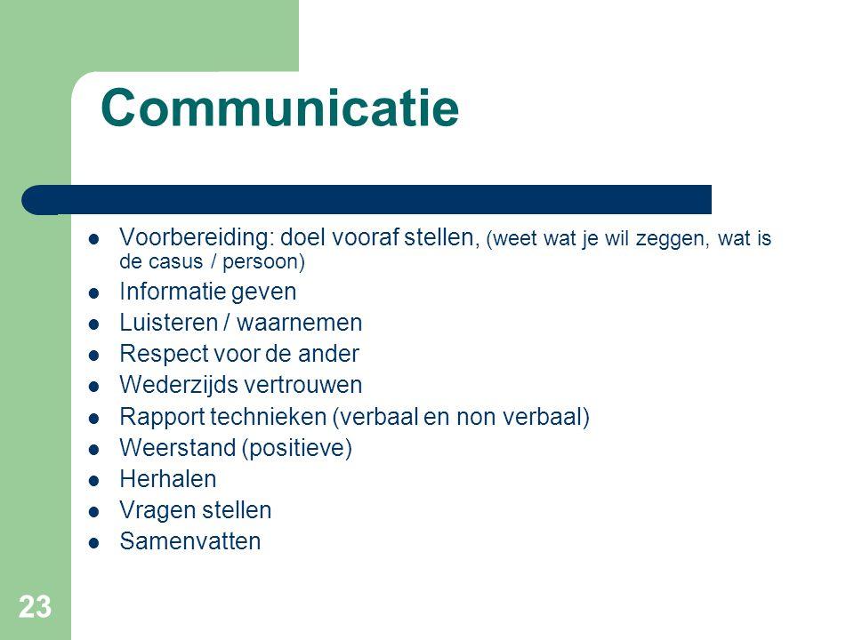 Communicatie Voorbereiding: doel vooraf stellen, (weet wat je wil zeggen, wat is de casus / persoon)