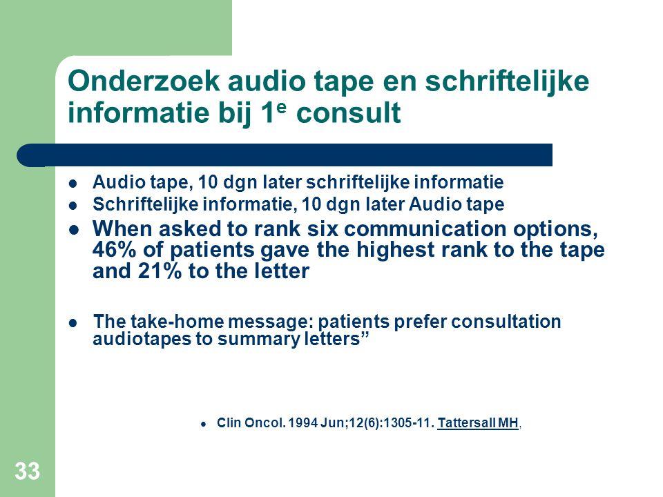 Onderzoek audio tape en schriftelijke informatie bij 1e consult