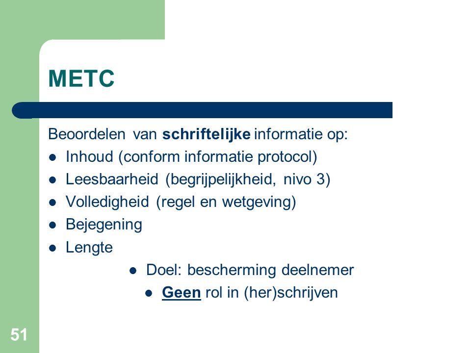 METC Beoordelen van schriftelijke informatie op: