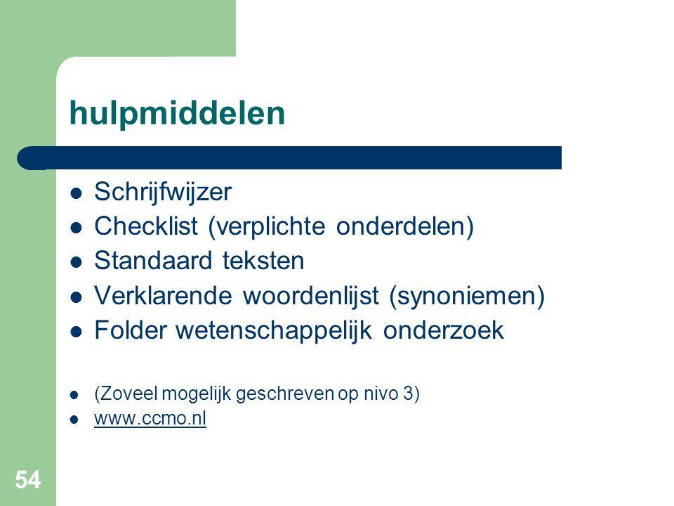 hulpmiddelen Schrijfwijzer Checklist (verplichte onderdelen)