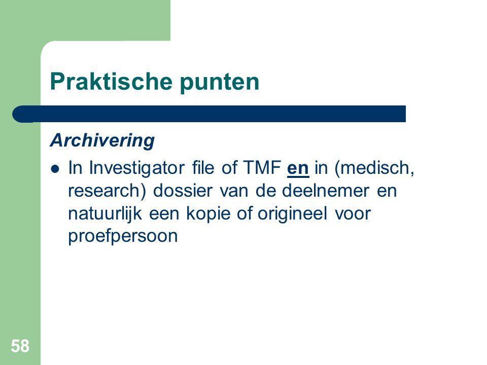 Praktische punten Archivering