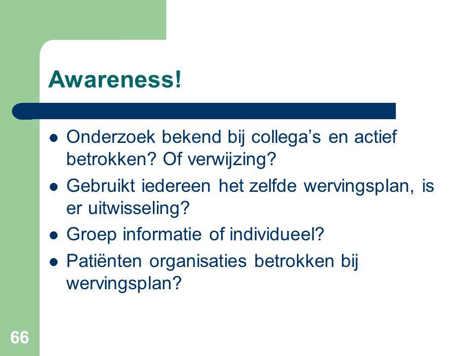 Awareness! Onderzoek bekend bij collega's en actief betrokken Of verwijzing Gebruikt iedereen het zelfde wervingsplan, is er uitwisseling