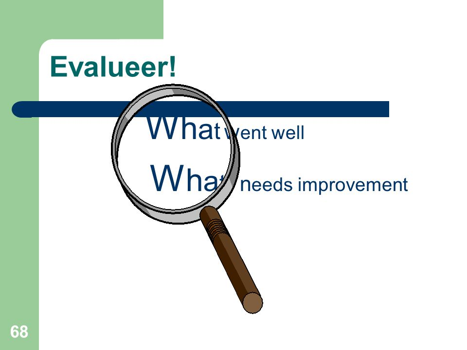 Evalueer! What went well What needs improvement