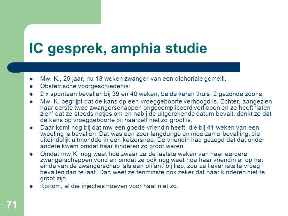 IC gesprek, amphia studie